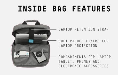 Juku Backpack for up to 15.6 in. laptop - Integrated External Charging Port & Cable - Grey Polyester