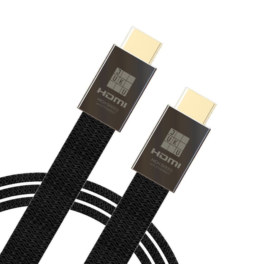Juku High-Speed HDMI 2.0 (Ethernet, 3D, 4K HDR video, ARC) 1.5M Flat Nylon Braided, 24K Gold Plated