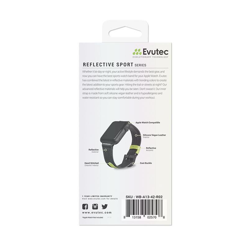 Evutec Apple Watch Band 42-44mm Reflective Sport - Black/Lime